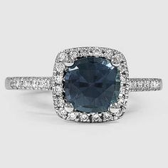 Platinum Sapphire Sonora Halo Diamond Ring // Set with 6.5mm Teal Cushion Sapphire (From Unique Colored Gemstone Gallery) #BrilliantEarth