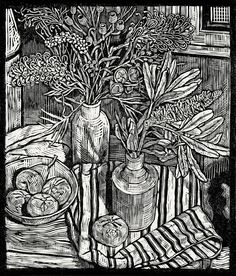Andrew Crooks ~ Still Life with a Banksia and Moonlight Grevilleas (2014) ~ Linocut, Arches Aquarelle off-white 185 gsm paper, 34 x 40 cm
