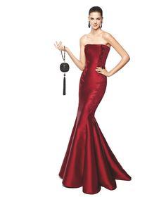 Vestido de fiesta granate con detalles florales Modelo Nala - Pronovias 2015