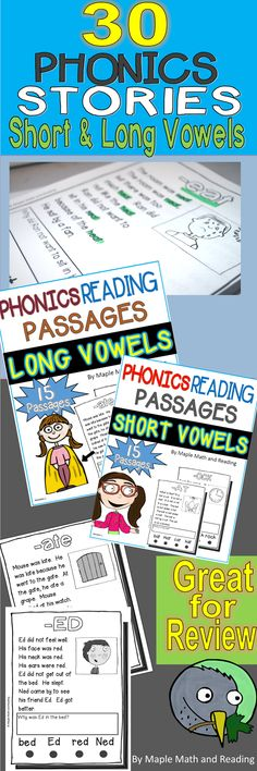 30 Phonics Stories (Short and Long Vowel Sounds) Bundled~ Many of the passages follow the CVC and CVCe patterns. Fluency dots are at the bottom of each page for quick phonics practice.$