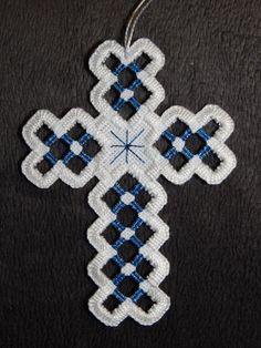 Hardanger Cross Ornament  Light Blue Sapphire by twistedthreads, $11.00