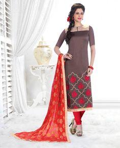Gray Banarasi Chanderi Churidar Suit 58613