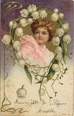 "Ilustração Art Nouveau ""Lily of the Valley"" - E. Vintage Labels, Vintage Cards, Vintage Postcards, Vintage Images, French Images, Alphonse Mucha, Best Wishes Card, Etiquette Vintage, Victorian Valentines"