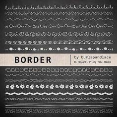 Elegant Hand Draw Clip Arts Chalkboard Border Clip Arts By 1burlapandlace, $4.99