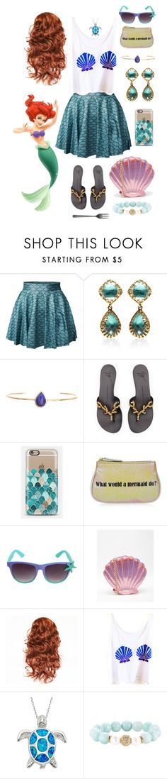 """Ariel contest"" by brie-the-pixie ❤ liked on Polyvore featuring Larkspur & Hawk, Ariel Gordon, Casetify, Disney, Skinnydip, Devoted and Canvas Home"
