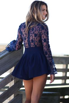 Blue Suede Shoes Long Sleeve Navy Romper