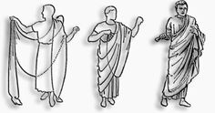 La vestimenta en la Antigua Roma. La toga romana era una prenda que sólo podían llevar los ciudadanos. Normalmente de color blanco, los ciudadanos romanos se envolvían el cuerpo con ella y dejaban que colgara del hombro. Los senadores romanos se distinguían del resto de ciudadanos en que el borde de sus togas era de color morado.