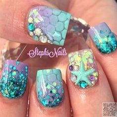 35. #Glitter and Scales - 40 #Awesome Beach Themed Nail Art #Ideas to Make Your Summer Rock ... → #Nails #Beach