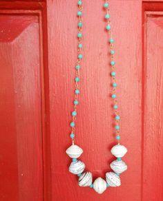 RICHARME Fair Trade Paper Bead on Bright Blue Bead Chain