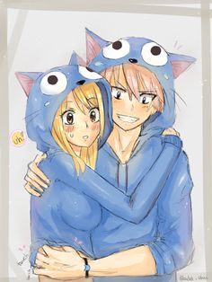 Fairy Tail - Lucy & Natsu in Happy Onesies Fairy Tail Lucy, Fairy Tail Nalu, Fairy Tail Ships, Image Fairy Tail, Fairy Tail Amour, Fairy Tail Guild, Fairy Tail Couples, Anime Fairy, Fairytail