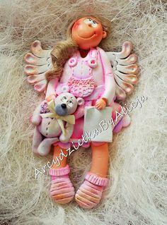 Aniołek dla dziewczynki masa solna angel baby girl pink