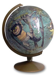 """Where the Wild Things Are"" decoupage globe by Wendy Gold. - This is a fantastic idea. Alice in Wonderland would be another great choice, but the color of Sendak's illustrations work really well with the globe."