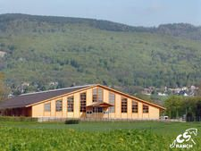 Reining arena of the CS Ranch in Givrins, Switzerland