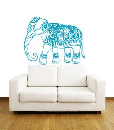Indian Elephant Wall Decals - Floral Pattern Wall Vinyl Decal - Interior Home Decor - Wall Decal - Housewares Art Vinyl Sticker Decal V1071