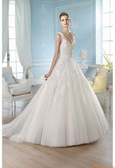 Kirche V-neck A-linie Elegante Preiswerte Brautkleider