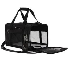 cool SONGMICS Soft Sided Pet Carrier Dog Travel Carrier with Removable Fleece Bed Black UPPC51H