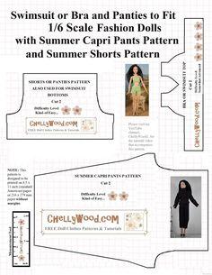 Free #sewing pattern for #FashionDoll capri pants and #summer bikini @ ChellyWood.com