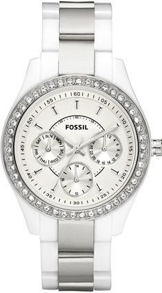 #Fossil #Watch , Fossil Women's ES2807 Stella Plastic Bracelet White Dial Watch