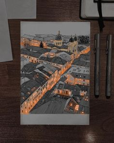 Ink Pen Drawings, Cool Drawings, Realistic Sketch, City Sketch, Building Drawing, Architecture Drawings, Architecture Design, Urban Sketching, Ink Illustrations