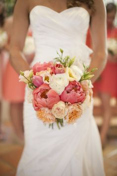 coral blush peach peonies bridal bouquet. Love these colors.