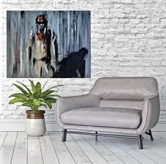 Modern and expressive art by Jacek Sikora in minimal home interior context