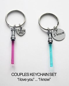 I Love You.. I Know. COUPLES KEYCHAIN SET.Valentines gift. Pink And Blue Lightsabers, Star Wars lightsaber, light saber, star wars,