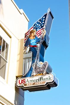 Replica blade sign of historic Lady Columbia, resides in Ybor City, Tampa, FL.