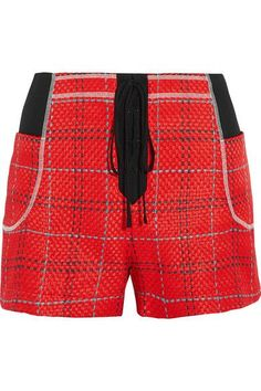 3.1 Phillip Lim - Twill-paneled Tweed Shorts - Red - US