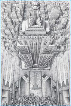 Stephen Biesty - Illustrator - Inside-out Views_Empire State BuildingYou can find Empire state and more on our website.Stephen Biesty - Illustrator - Inside-out Vi. Empire State Building, Art Sketches, Art Drawings, Pencil Drawings, Perspective Art, Perspective Building Drawing, Perspective Illustrator, Perspective Drawing Lessons, Building Sketch
