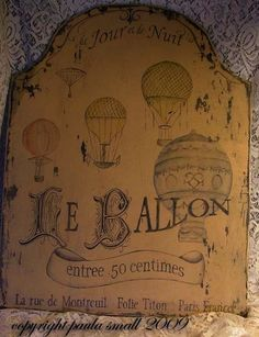 Le Ballon Vintage French Hot Air Balloon sign