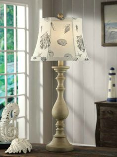 Tall Beach Cottage Lamp with Shell Shade
