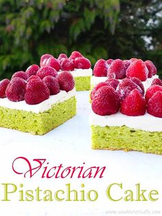 This naturally green Victorian pistachio cake is an old German recipe from the 1860s! It's basically a pistachio marzipan sponge cake.