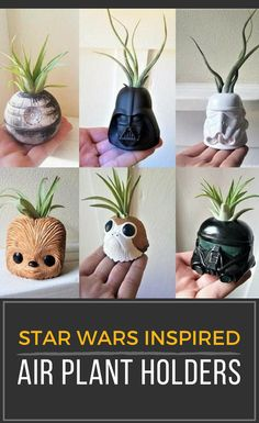 I love these cute Star Wars inspired air plant holders. These are the perfect gift idea for any Star Wars fan kid and adult. #ad #starwars #airplantholder #pot #flowerpot #planter #homedecor #deathstar #darthvader #stormtrooper #chewbacca #porg #geek #giftideas