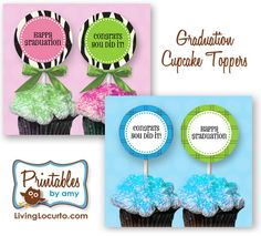 Free Printable Graduation Cupcake Toppers by Amy at LivingLocurto.com