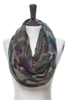 PIXELATED CAMO PRINTED INFINITY SCARF $10.00