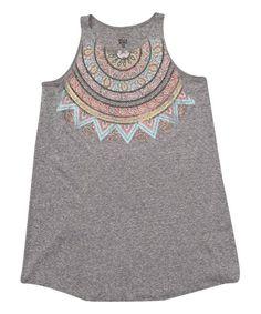 Gray Geometric Tank Dress - Girls