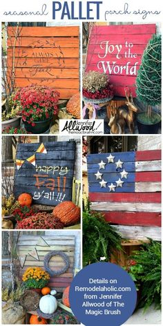 Easy DIY seasonal painted pallet porch signs   Make a big impact in your porch decor without spending a lot of time or money.