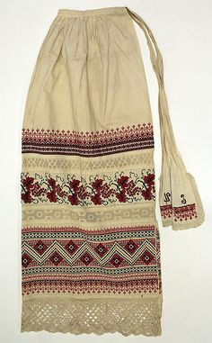 Russian embroidered apron trimmed with crochet lace, 1890 – 1917. Object from the Metropolitan Museum of Art. #traditional #costume