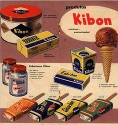 Anuncio de 1955, e mostra o Eski-bon (primeiro sorvete brasileiro lançado). Além do já-já (coco), ton-bon (limão) e ka-lú (abacaxi).