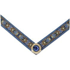 The Lindsay Phillips Switchflops Dali Strap is a blue, brown, and tan jacquard ribbon with a blue center stone ornament on a gold base. Comes with a pair of straps. Straps Sizes: Small - Size 5 & 6 (S