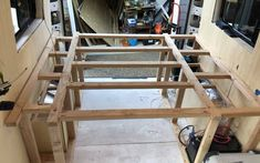 If you're converting youre van to a campervan, heres a detailed step by step guide on how to build a van conversion bed frame for your camper. Van Conversion Bed Frame, Van Conversion Interior, Camper Van Conversion Diy, Campervan Bed, Campervan Interior, Bed Frame With Storage, Diy Bed Frame, Storage Beds, Camper Beds