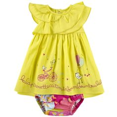 Light cotton voile dress. Round neckline. Small flounces on the shoulders. Snap buttons all the way down the back. Multicoloured stretch cotton jersey bloomers. - $ 69.72