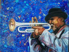 """Horn in Blue"" oil on canvas by Memphis artist Emery Franklin....Can you hear it? www.inskysart.com,  Birmingham, AL"