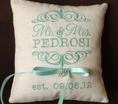Mr. & Mrs. Personalized Ring Bearer Pillow I by ElegantThreadsEtc, $32.95