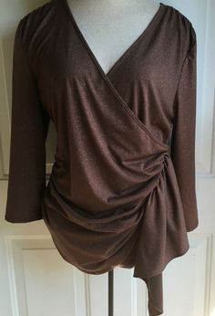 Boston Proper Faux Wrap Top Blouse Long Sleeve Brown w/ Rose Gold Glitter Medium…