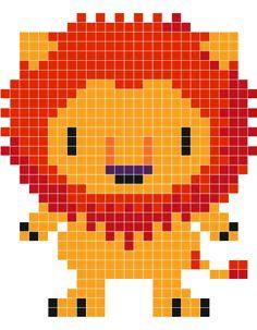 Lion pixel pattern http://mistertrufa.net/librecreacion/culturarte/?p=12