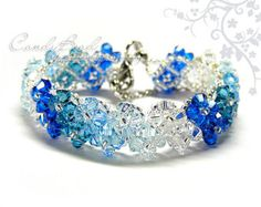 Swarovski Crystal Bracelet, Blue Shade Crystal Bracelet by CandyBead