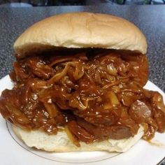 Jackfruit pulled BBQ sandwich.  Jackfruit has only 40 calories per 1/2 cup and zero fat!  Easy way=place 4 cans off Jackfruit (water drained and discarded) in crockpot with onions, garlic and bbq sauce-simmer several hours until soft then stir and pull fibers to seperate.  Place on your favorite roll and enjoy.  Looks and tastes like Memphis BBQ without the heart disease : )  Can also use on Nachos with some vegan cheese!