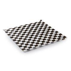 "25 sheets White and Black Checkered Deli Wrap Paper 12""x12""  Wax Paper"