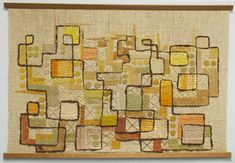 Spring Game, late 1950s-1960.  Wool, cotton, silk, linen and jute embroidery threads on coarse linen ground.  The Baltimore Museum of Art.